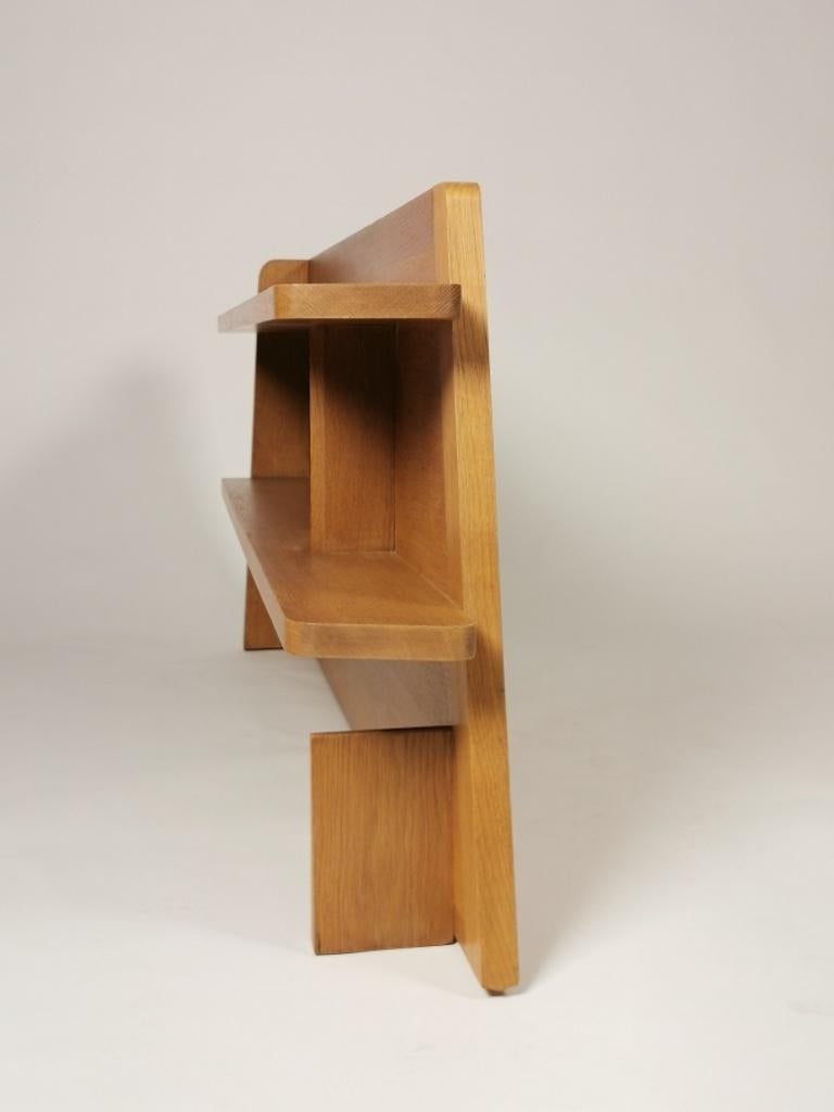 Guillerme et Chambron, Solid Oak Shelf, France 1960s For Sale 4