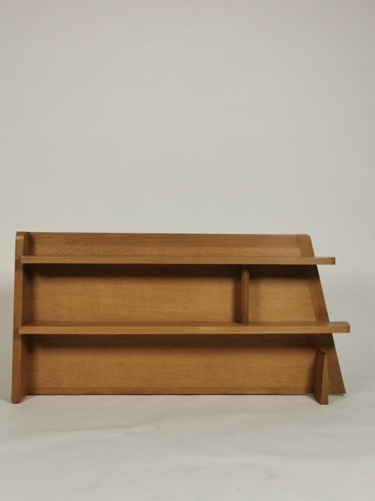Mid-Century Modern Guillerme et Chambron, Solid Oak Shelf, France 1960s For Sale
