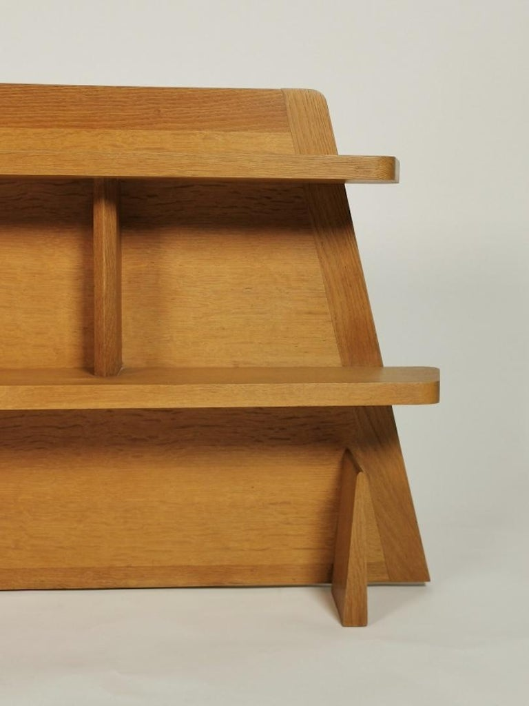 Mid-20th Century Guillerme et Chambron, Solid Oak Shelf, France 1960s For Sale