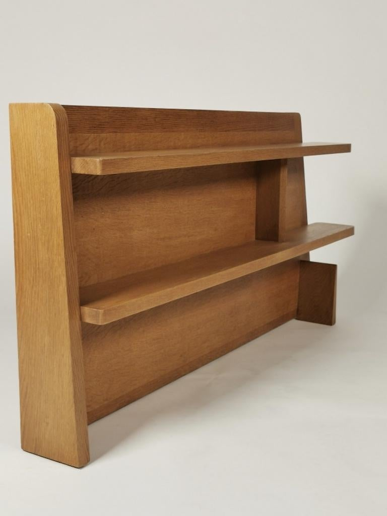 Guillerme et Chambron, Solid Oak Shelf, France 1960s For Sale 2