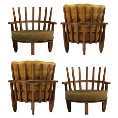 Guillerme et Chambron 'Tricoteuse' Lounge Chairs in Oak