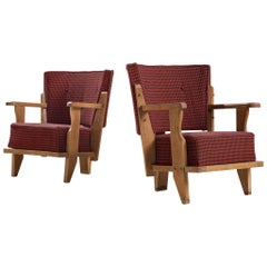 Guillerme et Chambron Two Lounge Chairs in Red and Black Checkered Fabric