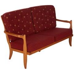 Guillerme et Chambron, Two-Seat Oak Sofa, France, Mid-20th Century