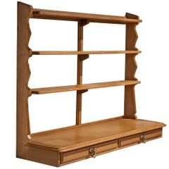 Guillerme et Chambron Wall-Mounted Shelf with Drawers in Oak
