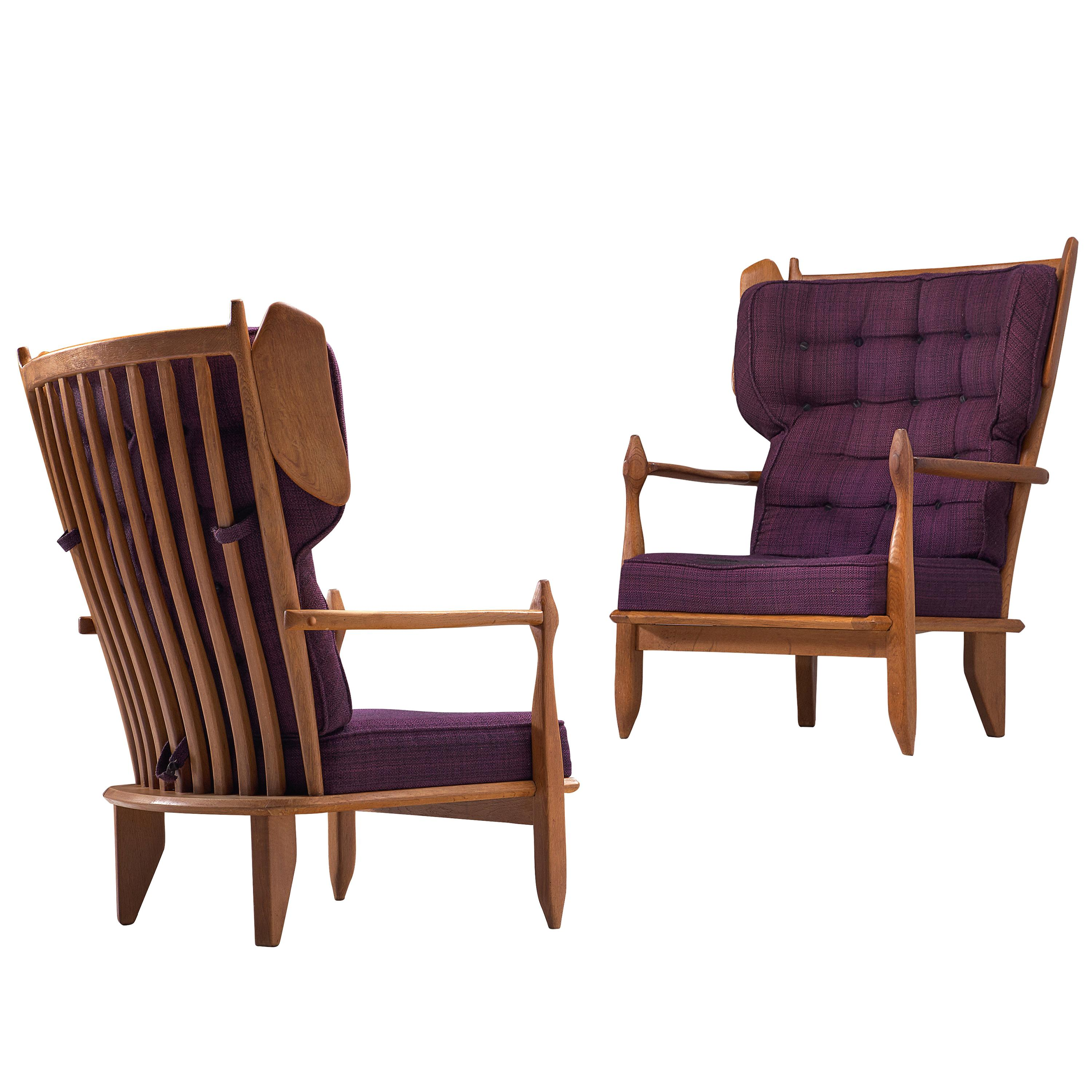 Guillerme et Chambron Wingback Lounge Chairs in Oak