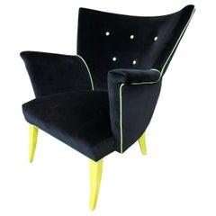 Guillermo Eyelash Wing Chair Newly Upholstered Armchair in Black Velvet, 1950s