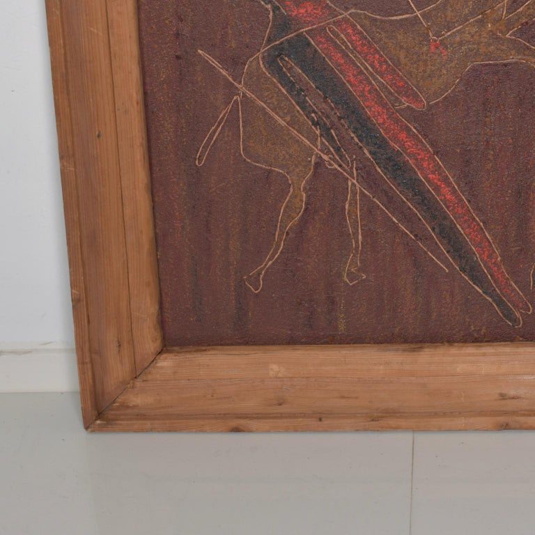 Late 20th Century Guillermo Olguin Modern Mexican Contemporary Artist Oil on Canvas For Sale