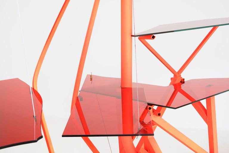 Desk or bookshelf Manufactured by Guillermo Santomá Edition Side Gallery Barcelona, 2018 Aluminium, spray painting, wheels, methacrylate.
