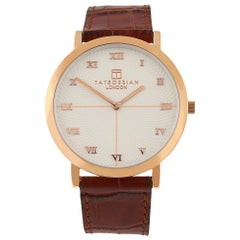 Guilloche Automatic Watch, Rose Gold IP
