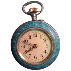 Guilloche Enamel Turquoise Ladies Fob Watch