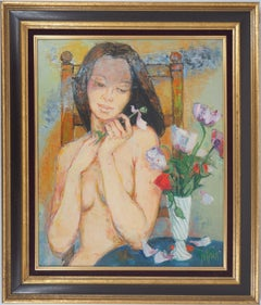Nude with Poppies - Original Oil on Canvas, Handsigned