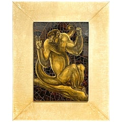 """""""Guinea Baboon,"""" Masterpiece of Art Deco Painting in Lacquer by Margat, 1938"""