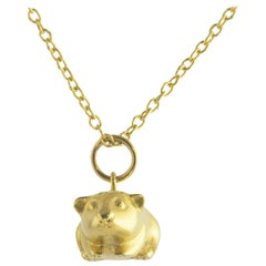 Ico & the Bird w/ Turquoise Mountain Myanmar Guinea Pig Zodiac Charm 18K Gold