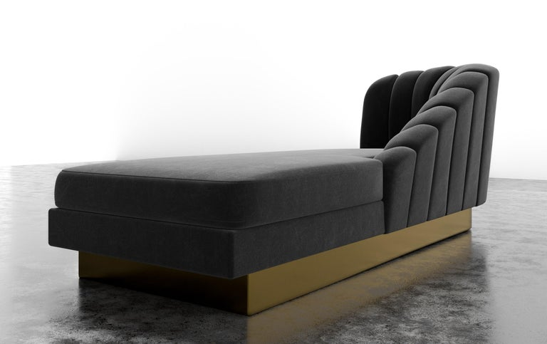 American GUINEVERE CHAISE - Modern Asymmetrical Velvet Chaise with Metal Plinth Base For Sale
