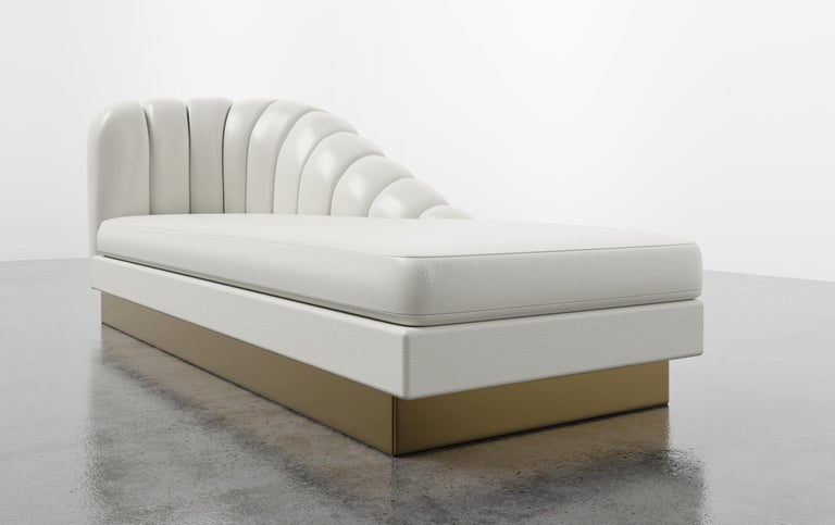 GUINEVERE CHAISE - Modern Asymmetrical Velvet Chaise with Metal Plinth Base In New Condition For Sale In Laguna Niguel, CA