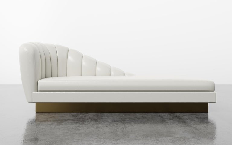 Contemporary GUINEVERE CHAISE - Modern Asymmetrical Velvet Chaise with Metal Plinth Base For Sale