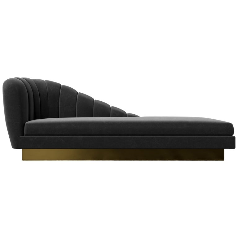 GUINEVERE CHAISE - Modern Asymmetrical Velvet Chaise with Metal Plinth Base For Sale