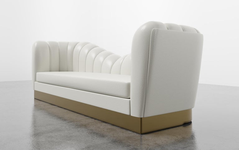 American GUINEVERE SOFA - Modern Symmetrical Sofa in Faux White Leather with Metal Plinth For Sale
