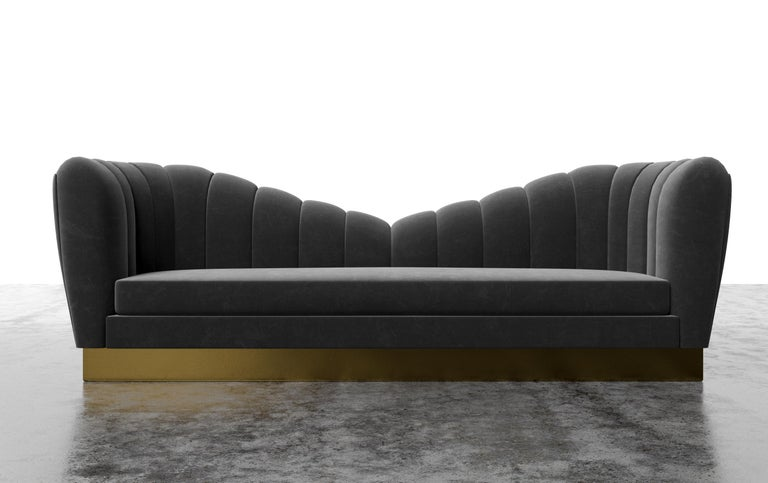 Contemporary GUINEVERE SOFA - Modern Symmetrical Sofa in Faux White Leather with Metal Plinth For Sale