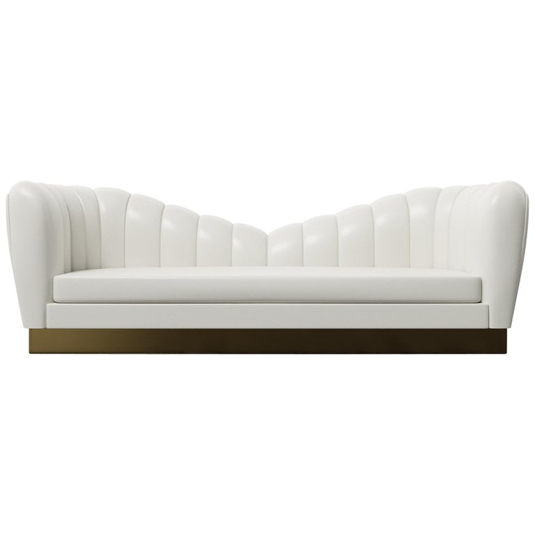 GUINEVERE SOFA - Modern Symmetrical Sofa in Faux White Leather with Metal Plinth For Sale