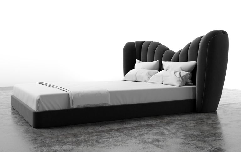 American GUINIVERE BED - Modern Curved Bed in a Luxury Charcoal Velvet  For Sale