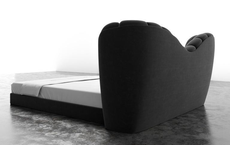 GUINIVERE BED - Modern Curved Bed in a Luxury Charcoal Velvet  In New Condition For Sale In Laguna Niguel, CA