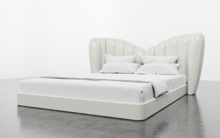 Upholstery GUINIVERE BED - Modern Curved Bed in a Luxury Charcoal Velvet  For Sale