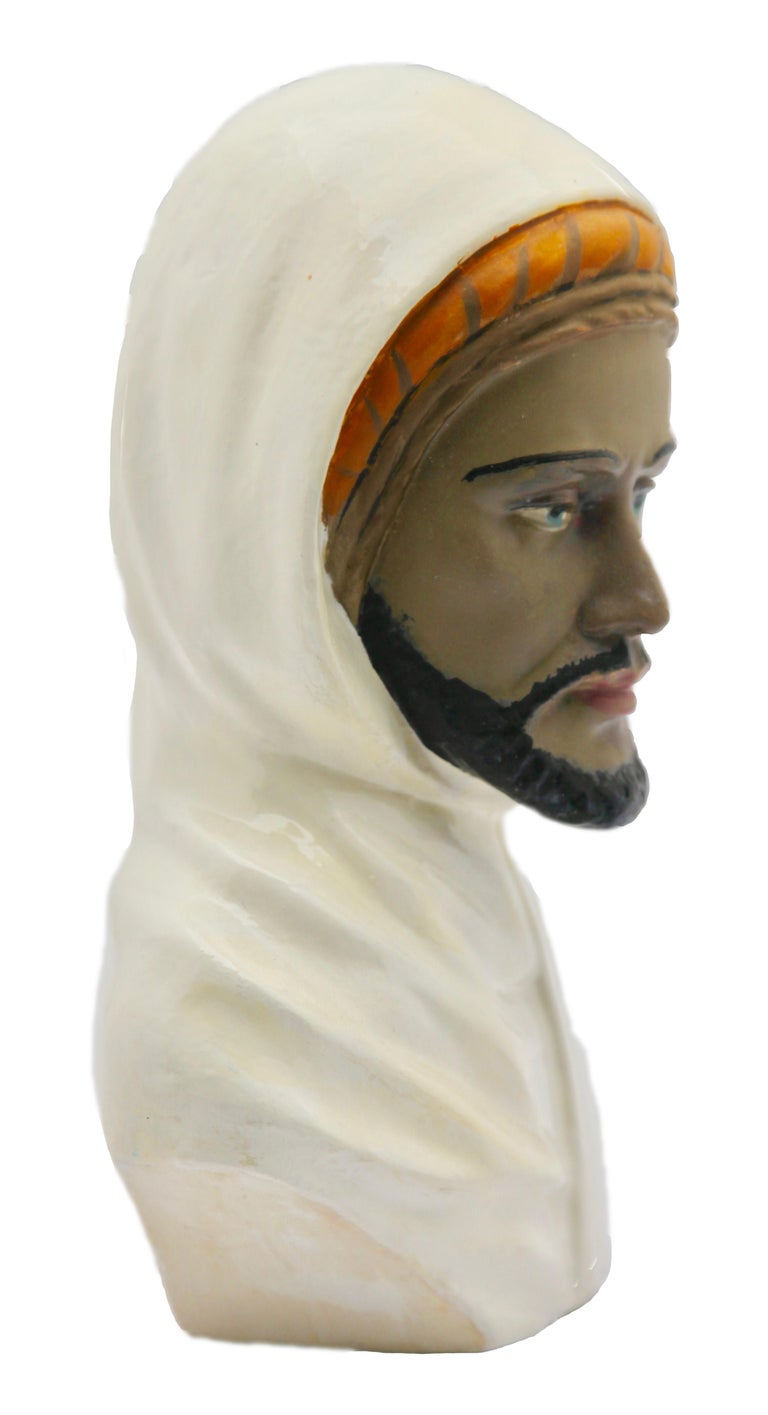Art Nouveau Guiseppe Carli Signed, Polychrome Ceramic Bust of an Arab Head For Sale