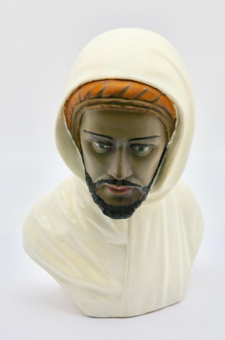 Belgian Guiseppe Carli Signed, Polychrome Ceramic Bust of an Arab Head For Sale