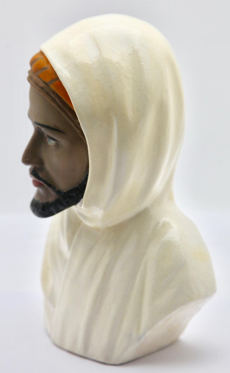 Hand-Crafted Guiseppe Carli Signed, Polychrome Ceramic Bust of an Arab Head For Sale