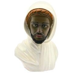 Guiseppe Carli Signed, Polychrome Ceramic Bust of an Arab Head