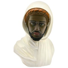 Guiseppe Carli Signed, Polychrome Ceramic Bust of an Arab Head