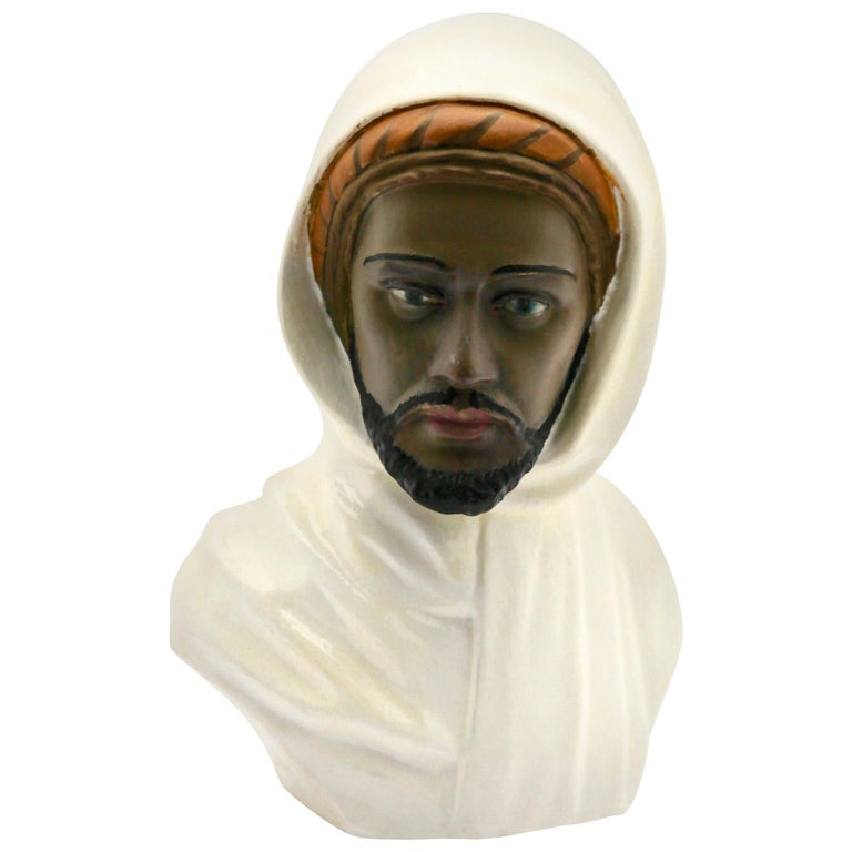 Guiseppe Carli Signed, Polychrome Ceramic Bust of an Arab Head For Sale