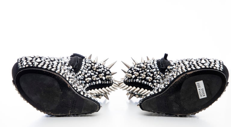 Guiseppe Zanotti Black Suede & Silver Spikes Embellished Wedges, Fall 2012 For Sale 7