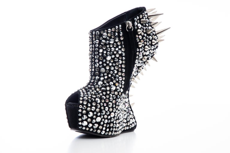 Women's Guiseppe Zanotti Black Suede & Silver Spikes Embellished Wedges, Fall 2012 For Sale