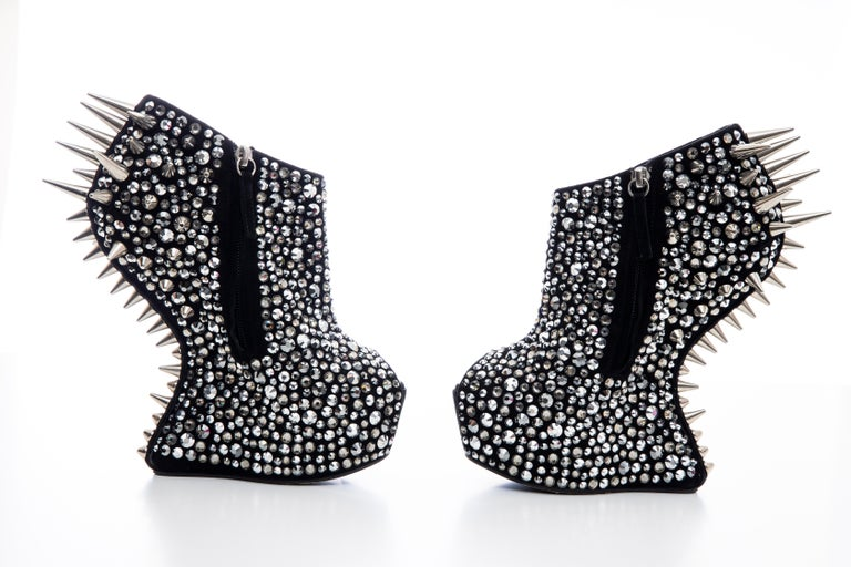 Guiseppe Zanotti Black Suede & Silver Spikes Embellished Wedges, Fall 2012 For Sale 5