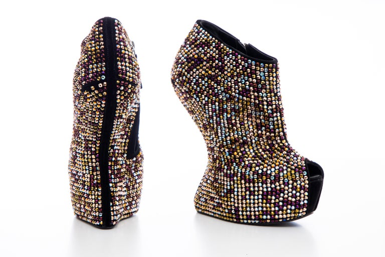 Guiseppe Zanotti Crystal Embellished Wedges, Fall 2012 For Sale 9