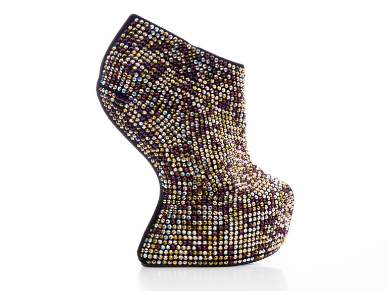 Black Guiseppe Zanotti Crystal Embellished Wedges, Fall 2012 For Sale