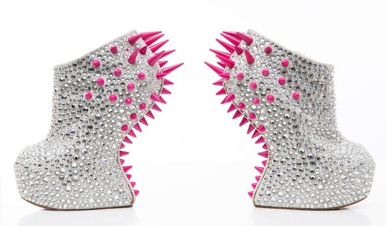 Guiseppe Zanotti Swarovski Crystal & Pink Spiked-Embellished Wedges Fall 2012 For Sale 7