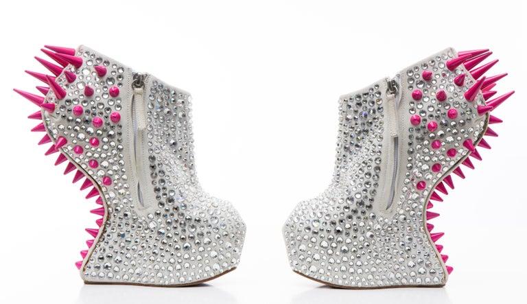 Guiseppe Zanotti Swarovski Crystal & Pink Spiked-Embellished Wedges Fall 2012 For Sale 8