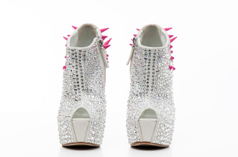 Guiseppe Zanotti Swarovski Crystal & Pink Spiked-Embellished Wedges Fall 2012 For Sale 9