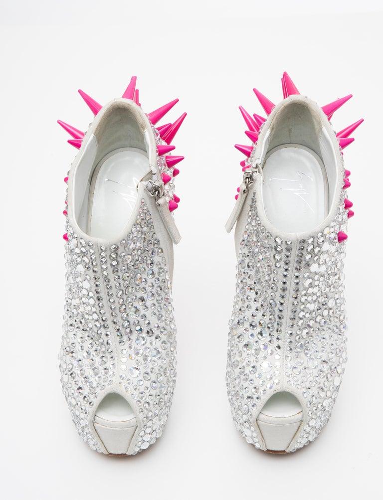 Guiseppe Zanotti Swarovski Crystal & Pink Spiked-Embellished Wedges Fall 2012 For Sale 10