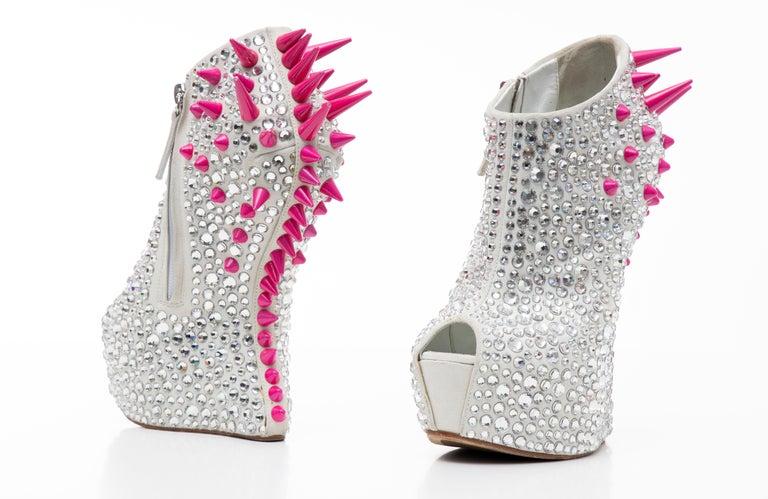 Guiseppe Zanotti Swarovski Crystal & Pink Spiked-Embellished Wedges Fall 2012 For Sale 11