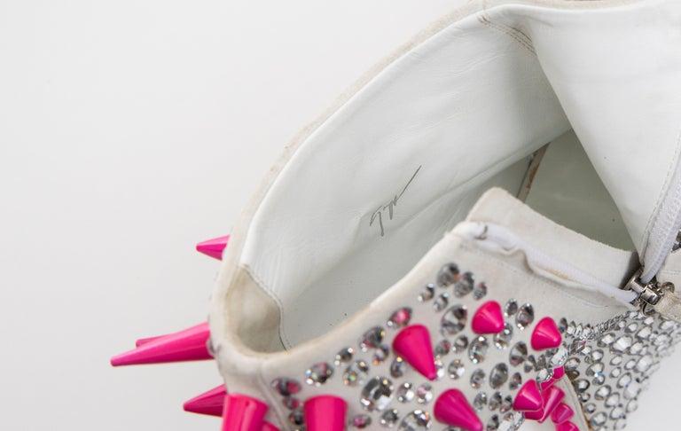 Guiseppe Zanotti Swarovski Crystal & Pink Spiked-Embellished Wedges Fall 2012 For Sale 14