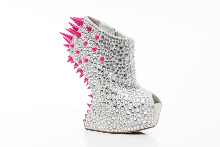 Giuseppe Zanotti, Fall 2012, Swarovski Crystal & Pink Spiked-Embellished Contour Wedges with zip closure at sides.  Heels 6.25
