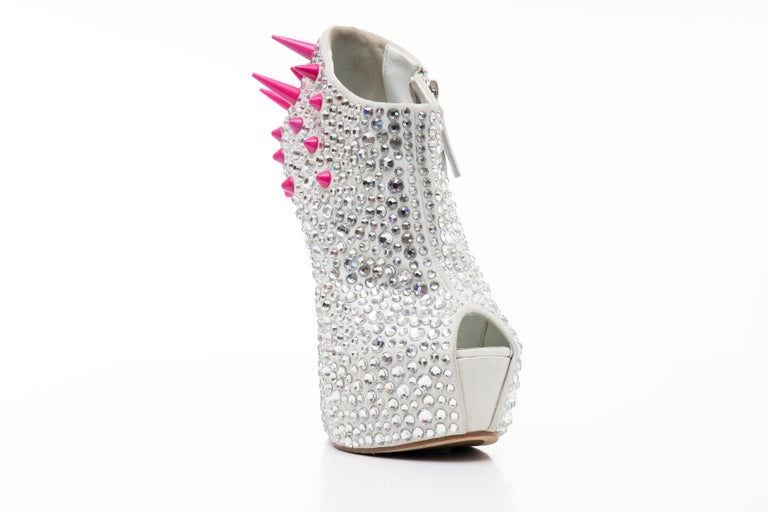 Gray Guiseppe Zanotti Swarovski Crystal & Pink Spiked-Embellished Wedges Fall 2012 For Sale