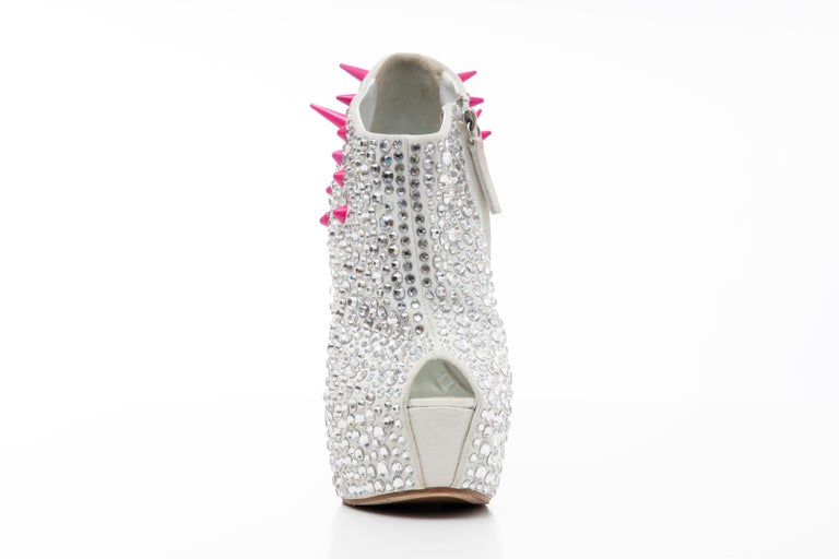 Guiseppe Zanotti Swarovski Crystal & Pink Spiked-Embellished Wedges Fall 2012 In Good Condition For Sale In Cincinnati, OH