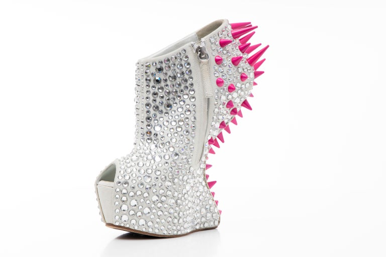 Women's Guiseppe Zanotti Swarovski Crystal & Pink Spiked-Embellished Wedges Fall 2012 For Sale