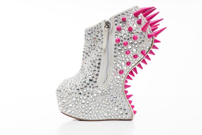 Guiseppe Zanotti Swarovski Crystal & Pink Spiked-Embellished Wedges Fall 2012 For Sale 1