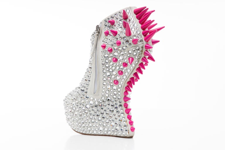 Guiseppe Zanotti Swarovski Crystal & Pink Spiked-Embellished Wedges Fall 2012 For Sale 2